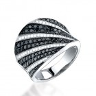 1.65CT Black & White Diamond Ring on 14K White Gold.