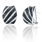1.75CT Black & White Diamond Earrings on 14K White Gold.