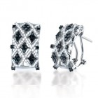 1.80CT Black & White Diamond Earrings on 14K White Gold.