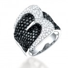 3.05CT Black & White Diamond Ring on 14K White Gold.