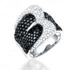 3.05CT Black & White Diamond Ring on 14K White Gold.