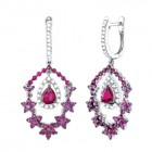 4.20CT Diamond & Ruby Fashion Earrings on 14K White Gold.