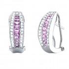 1.70CT Diamond & Pink Sapphire Fashion Earrings on 14K White Gold
