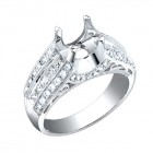 1.00CT Diamond Semi-Mount Ring on 18K White Gold.