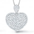 3.60CT Diamond Heart Pendant on 14K White Gold.