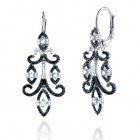 1.55CT Black & White Diamond Earrings on 14K White Gold.