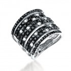 2.50CT Black & White Diamond Ring on 14K White Gold.