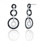 0.95CT Black & White Diamond Earrings on 14K White Gold.