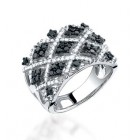 1.25CT Black & White Diamond Ring on 14K White Gold.